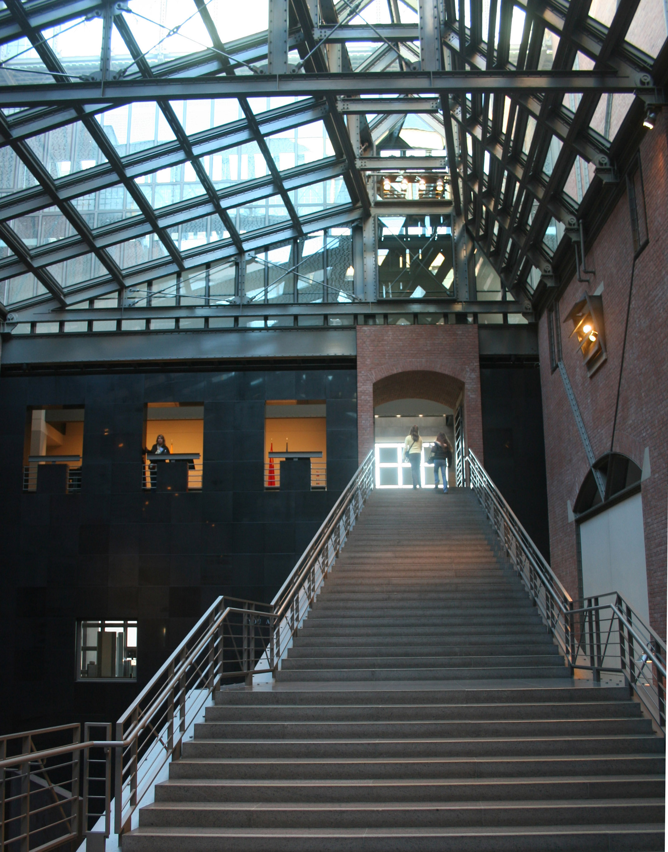 "This image shows the ""Hall of Witness,"" in the interior of the United States Holocaust Memorial Museum in Washington, DC"