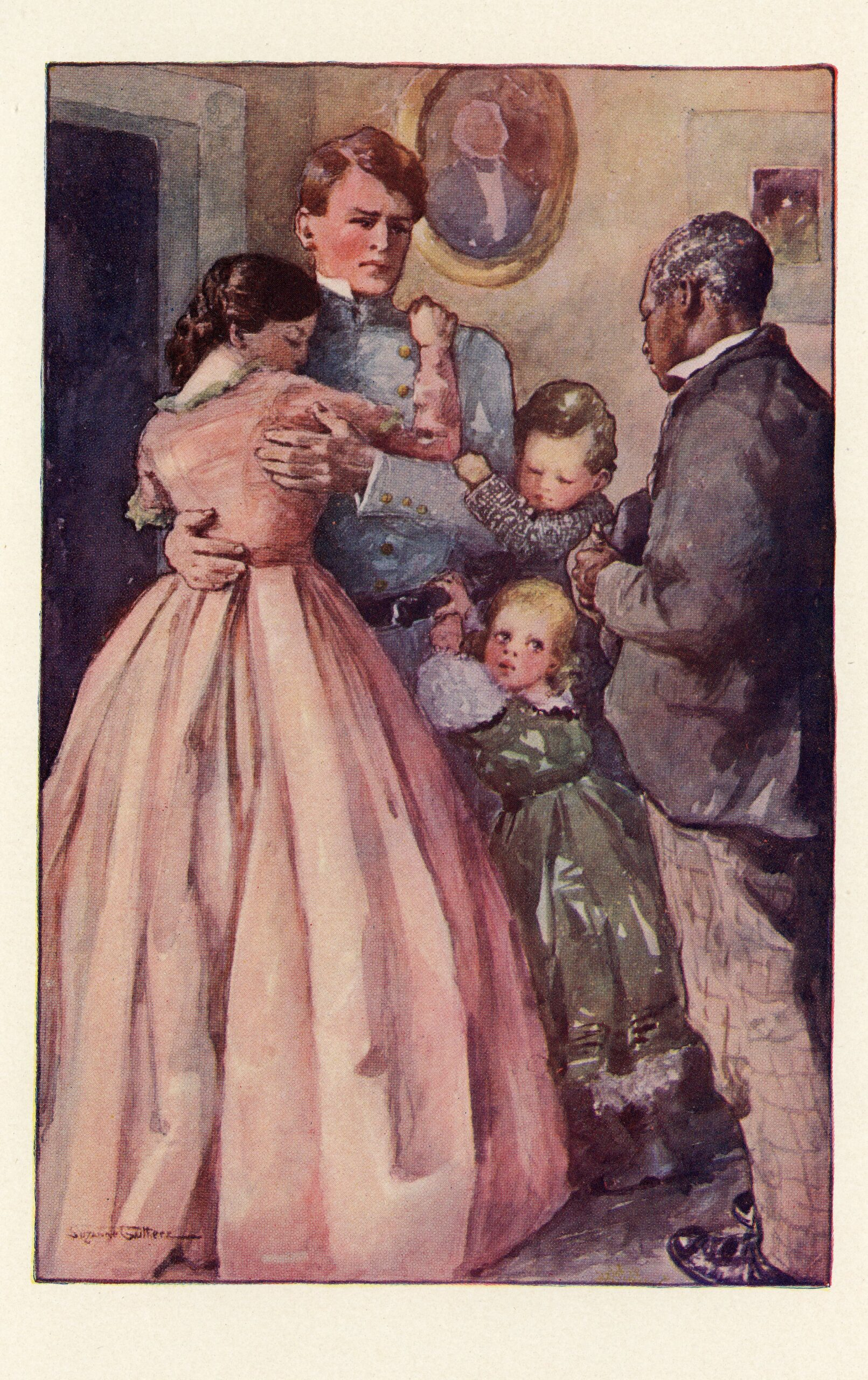 Illustration of a white family with an older African American man