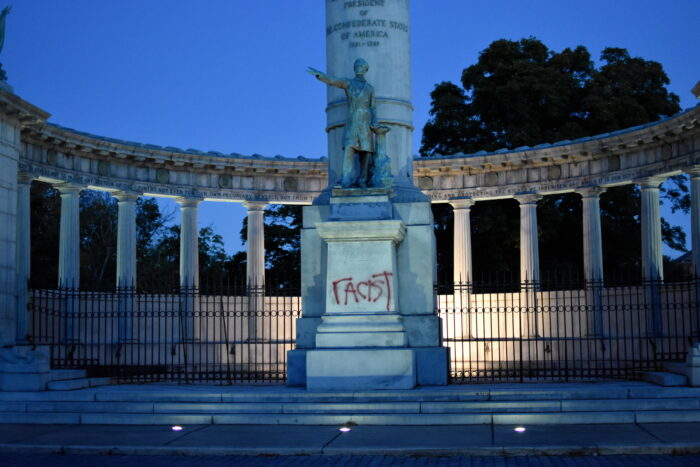 "Photo of Jefferson Davis memorial in Richmond, Virginia with ""racist"" written in spray paint"